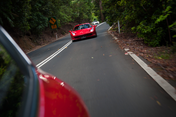 Ferrari 458 Italia driving through the Macquarie Pass NSW