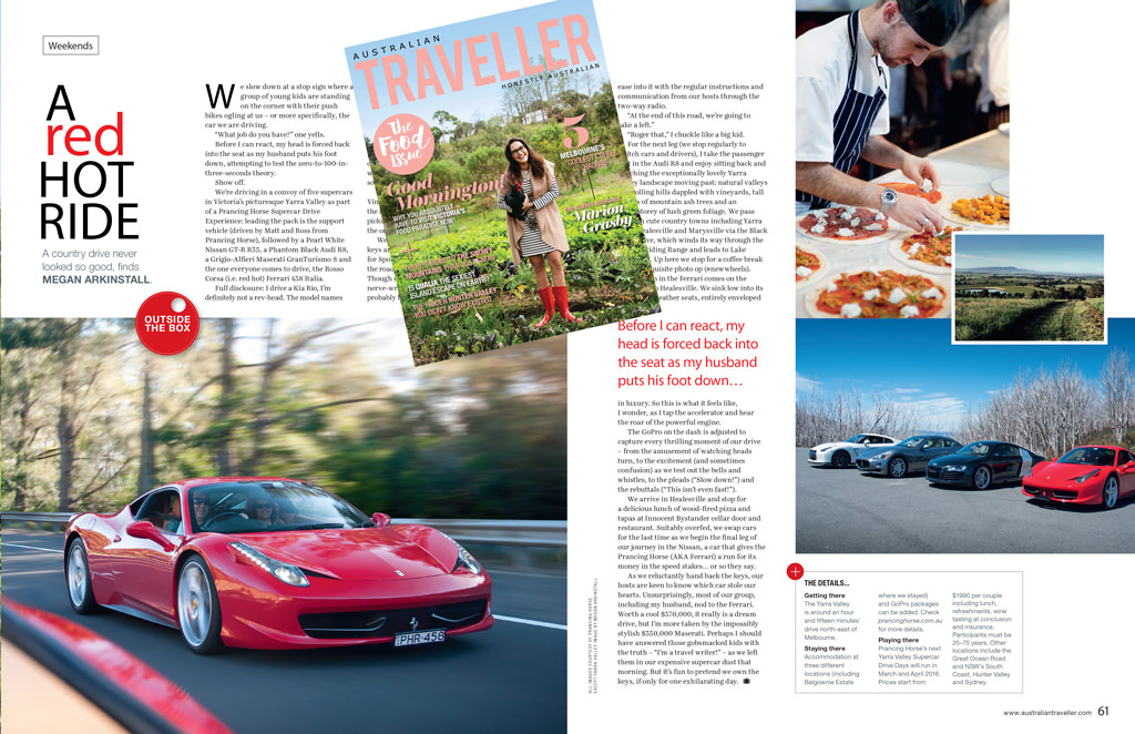 Australian Traveller Magazine Review - Prancing Horse Supercar Drive Day Yarra Valley Megan Arkinstall 2015